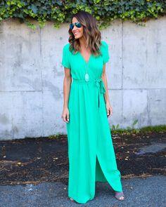 Solid Bardot Wrap Dress - Kelly Green
