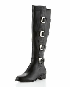 Reminiscent of my husband's motocross boots: Tamara Mixed-Leather Boot by MICHAEL Michael Kors at Neiman Marcus.