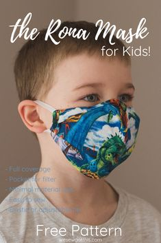 Quality cloth mask patterns, free, for children ages 2 - The popular Rona mask pattern has been remade for children's unique features. Diy Face Mask, Diy Mask, Homemade Face Masks, Sewing Patterns For Kids, Sewing For Kids, Sewing Ideas, Diy Sewing Projects, Sewing Hacks, Crafty Projects