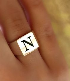 Sterling silver signet ring Personalized unisex ring by shmukies