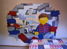 Lego Mural bursting through