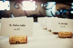 Use corks as place card holders.