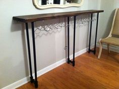 Rustic industrial console table. My friend Amanda Eiland made this!!