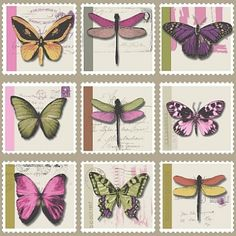 Farfalla (97943) - Albany Wallpapers - Brightly coloured exotic butterflies on stamp shapes - create an all over tile effect design.  Available in a range of colours, shown here in the raspberry pink and soft green multi colours on linen beige. Please request sample for true colour match.
