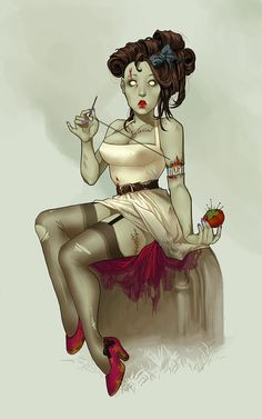 Day two Zombie. Everyone loves Zombies, right? :o) I hope you enjoy pinup zombie, caught in the middle of arm surgery.