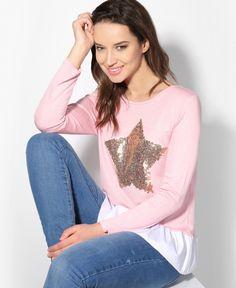 £15.39 // Sequin Star Frill Hem Jumper /  Product Code: 2166 /  #star #stars #sequin #pink #jumper #shirt #makeup #fashion #fashionbloggers