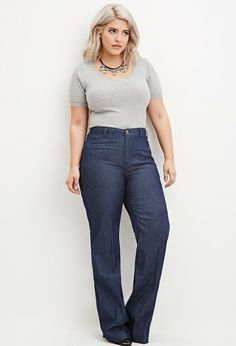 Plus Size Wide-Leg Denim Pants