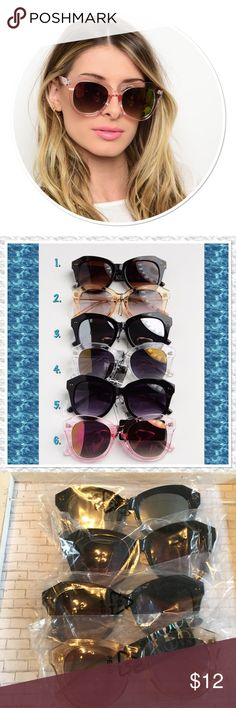 Fashion Sunglasses New fashionable sunglasses, UV Protection, 6 styles to choose from. Pick which style you would like. Price is firm unless bundled Boutique Accessories Sunglasses