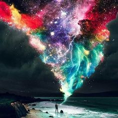 """""""Shine is my favorite color.""""⠀⠀ -⠀⠀ Artist: by Faster Than Light Science Beach Wallpaper, Screen Wallpaper, Universe Art, Photo Manipulation, My Favorite Color, Trippy, Fantasy Art, Budapest, Illustration"""