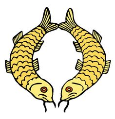 Golden Fish  The golden fish symbolises the auspiciousness of all living beings in a state of fearlessness, without danger of drowning in the ocean of sufferings, and migrating from place to place freely and spontaneously, just as fish swim freely without fear through water.