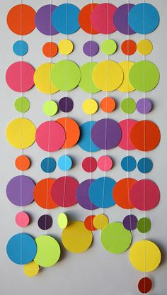 rainbow paper garland, birthday decorations, birthday party decor, circle paper…