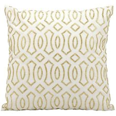 Kathy Ireland Beaded Throw Pillow, White Gold ($82) ❤ liked on Polyvore featuring home, home decor, throw pillows, white gold, white accent pillows, patterned throw pillows, geometric throw pillows, beaded accent pillows and white home decor