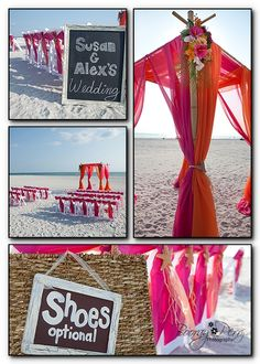 Tropical Wedding Color Schemes | Perfect Florida Beach Wedding: Tropical Sunset Beach Decor