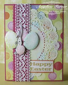 Prickley Pear Rubber Stamps:  Bunny With Egg, Floral Egg