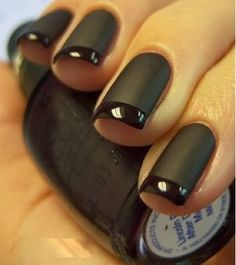 Holiday nails 2013... Black matte nails with shiny French... Black on black. Perfection for summer and fall    {Mani Monday}   A Fancy Affair