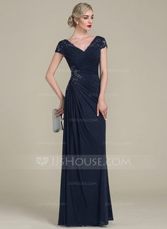 A-Line/Princess V-neck Floor-Length Beading Sequins Zipper Up at Side Sleeves Short Sleeves No Dark Navy Spring Summer Fall General Plus Jersey Height:5.7ft Bust:33in Waist:24in Hips:34in US 2 / UK 6 / EU 32 Evening Dress