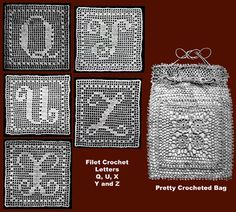 Filet Crochet letters and pouch