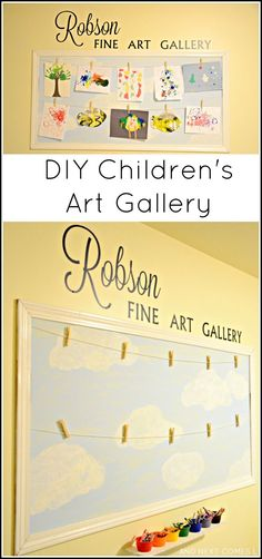 DIY art gallery for displaying children's artwork from And Next Comes L