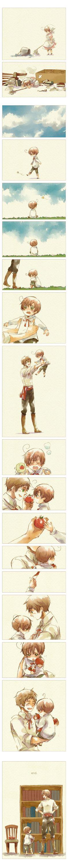 Cute fancomic featuring Romano and Spain (little Lovino and Antonio) - Art by Nori (peco) Hetalia :)