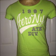 Lime green colored Aeropostale T-shirt Like color Aeropostale t-shirt cotton material (all my clothes are in new condition) this top fits a teenager Aeropostale Tops Tees - Short Sleeve