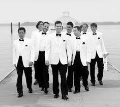 groom and groomsmen black & white wedding suit - Google Search