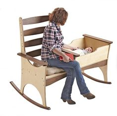 Nanny Rocker woodworking plan. Rock your baby to sleep while reading, knitting, watching TV, or checking your social media in this ultimate multitasker.