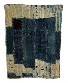 Japanese textiles: boro, futon cover, early 20th century. Indigo dye, sashiko stitch.