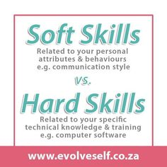 In job descriptions, employers often ask for a combination of soft and hard skills. Hard skills are related to specific technical knowledge and training while soft skills are personality traits such as leadership, communication or time management. Both types of skills are necessary to perform and advance in most jobs successfully. Cv Writing Tips, Cv Writing Service, Writing Services, Communication Styles, Training Materials, Career Success, Job Posting, Job Description, Get The Job