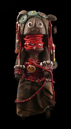 Africa | Doll from the Dinka people of Southern Sudan | Wood, cloth, beads, buttons and metal
