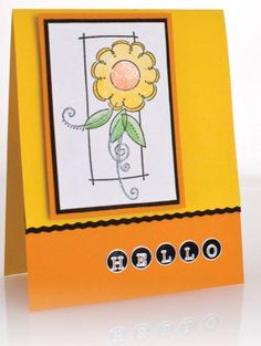 """Fold a 4 ¼"""" X 11"""" panel of bright yellow card stock in half to form card base.   Trim 2"""" off bottom front of card with wavy cutter.   Cut a 4 ¼"""" X 1"""" strip of black card stock along one edge with wavy cutter and glue to back of front panel, matching waves.   Glue a 4 ¼"""" X 2"""" panel of light orange card stock to bottom of front panel matching bottom edge of back panel.   Arrange alphabet dot stickers in greeting on orange panel.   Stamp daisy image in black on white card stock. Color as…"""