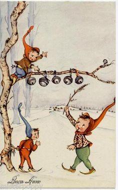 Christmas elves putting on the jingle bells.  Looks like a German illustration…