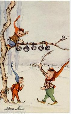 Christmas elves putting on the jingle bells.  Looks like a German illustration to me...