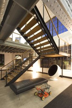 The Warm and Connected Offices of Deepend  | stairway | #stairway #office http://www.ironageoffice.com/