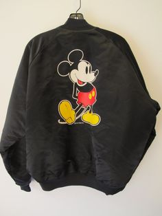 Vintage Mickey Mouse Chalk Line Satin Bomber Jacket by kokorokoko, $66.00
