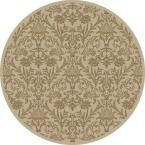 Jewel Damask Ivory 5 ft. 3 in. Round Area Rug