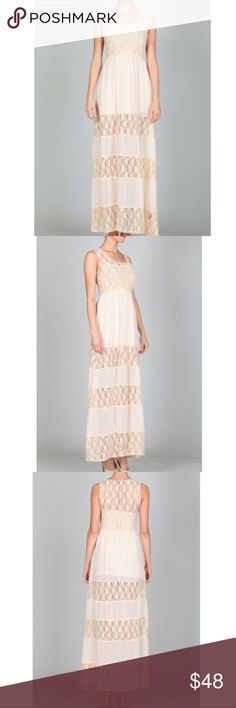 Ark & Co. Anthropologie Cream Lace Maxi Dress Ark & Co. for Anthropologie cream Lace Maxi Dress. ** this does not come with the slip dress underneath as seen in stock photos** Size S, but would easily fit M. New without tags. Super stretchy. Polyamide 90%, spandex 10%. ❌NO TRADES❌NO LOWBALLING❌ Anthropologie Dresses Maxi