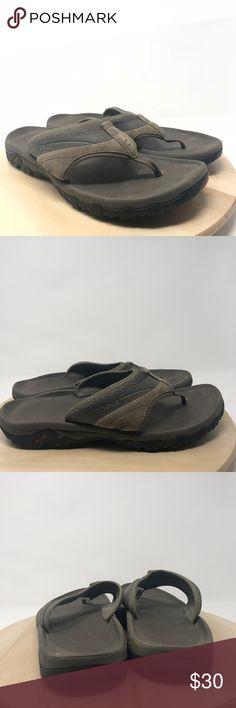 aa3f59d45184 Teva Men s Size 12 Brown Leather Flip-Flops L9 Teva SN1002432 Men s Size 12  Brown