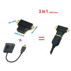 Hdmi to vga 케이블 마이크로 미니 hdmi 입력 어댑터 vga 출력 1080 마력 hdmi 컨버터 커넥터 xbox 360 ps3 ps4 pc dvd lcd TV