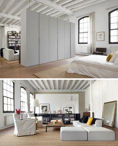 loft space, dividing wardrobe wall