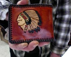 Wallet / Men / Bi Fold / Hand Carved and Tooled / Leather / Native / American / Indian / Buffalo, Bison /Man / Custom / Western / Hand Made