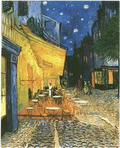 Cafe Terrace At Night painted in Arles in 1888 by Vincent Van Gogh!