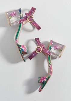 1908fd11f64f Beauty in Bloom Block Heel Your boldness only blossoms with every step  taken in these floral