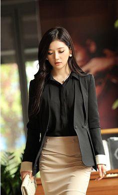 Aristocratic Snap Button V-neck Women Blazer Jacket - BuyTrends.com