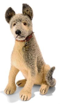 A STEIFF SEATED WOOL PLUSH GERMAN SHEPHERD, (3528,2), brown and gray, brown and black glass eyes, black stitching, swivel head, inoperative squeaker, studded leather collar with two FF buttons, bell and FF button with remains of red cloth tag, circa 1931 --9in. (23cm.) high (slight wear)