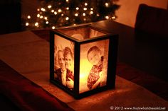 DIY Photo Luminaries DIY- Picture Frame Luminaries- great for decorating for parties, wedding centerpieces, holidays, gift ideas, etc. Holiday Crafts, Fun Crafts, Christmas Crafts, Christmas Presents, Diy Christmas Gifts For Dad, Homemade Gifts For Mom, Diy Gifts For Grandma, Christmas Christmas, Sentimental Gifts For Mom