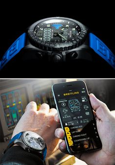 Breitling B55 Connected Chronograph.  Breitling's B55 Connected Chronograph flips the script on the standard smartwatch. Instead of a watch that offers a readout of your phone, the B55 uses your phone to operate the watch, allowing you to set alarms, change time zones, & adjust operating parameters. The B55 can also upload chronograph records to your phone.