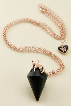 Wildfox Couture Accessories Black Fox Crystal Charm Necklace $20 - Hautelook.com