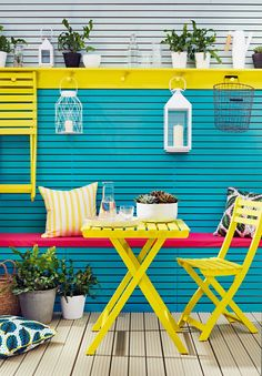 When you're dealing with small spaces, especially in the garden, you can afford to be daring with colour. Go bold and bright with these colour blocking ideas - beach blue and dazzling yellow - from Cuprinol. Find out more at housebeautiful.co.uk