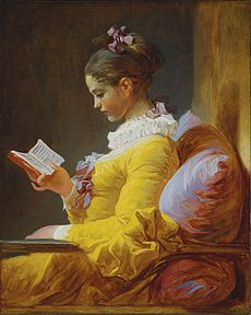 A Young Girl Reading - by French artist Jean-Honore Fragonard, 1776.  Painting hangs in the National Gallery of Art, Washington, D.C.