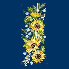 Sunflower Border - 6x10 - Products - SWAK Embroidery Border Design, All Design, Tea Towels, Linen Bedding, Embroidery Designs, Floral, Flowers, Projects, Linen Sheets